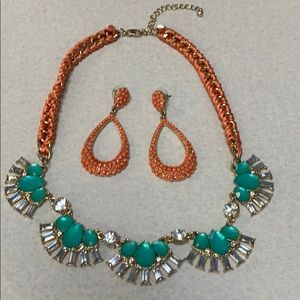 Peach & turquoise statement necklace and earrings